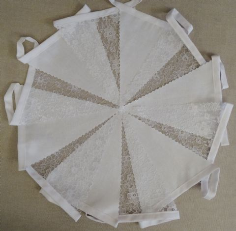 BUNTING - Plain White and Lace on White Tape - 3m, 5m or 10m